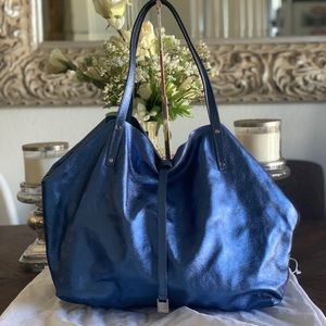 Tiffany and Co Blue suede+metallic tote with pouch